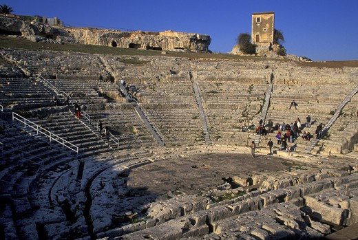 Greek theatre, Siracusa, Sicily, Italy  : Stock Photo
