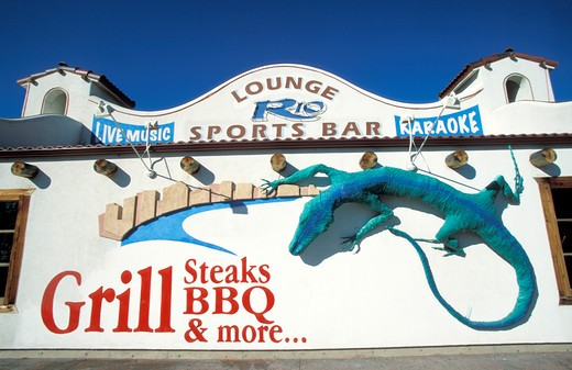 Bar sign, Moab, Utah, United States of America, North America : Stock Photo