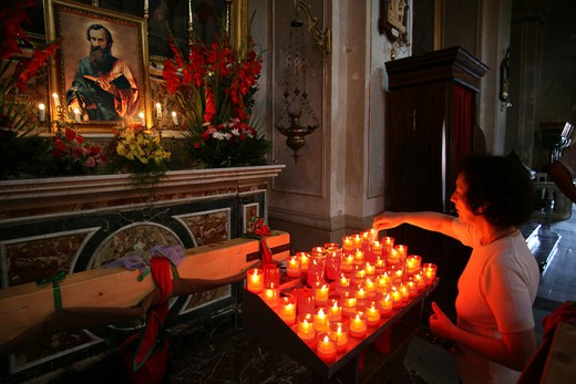 Prayer, San Paolo feast, Palazzolo Acreide, Sicily, Italy : Stock Photo