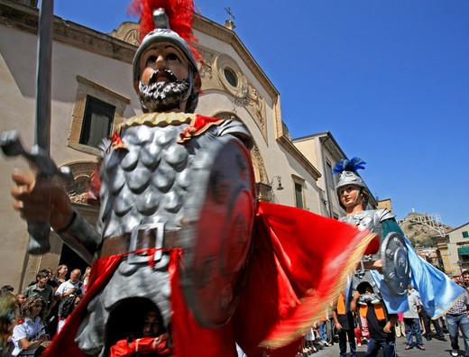 Giants, Madonna della luce feast, Mistretta, Sicily, Italy : Stock Photo