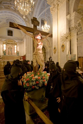 Holy Friday procession, San Piero Patti, Sicily, Italy : Stock Photo