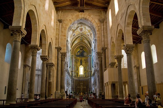 Interior, Cefalù Cathedral, Sicily, Italy : Stock Photo