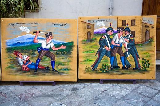 Antiquarian shop, Historical Centre, Taormina, Sicily, Italy, Europe : Stock Photo
