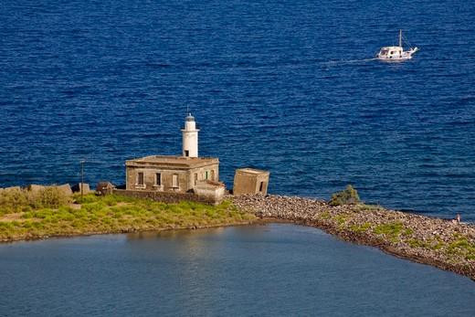 Old saltworks and lighthouse, Lingua, Salina Island, Messina, Italy, Europe : Stock Photo