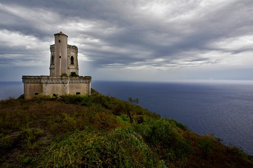 Old Observatory, Salina Island, Messina, Italy, Europe : Stock Photo