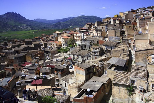 Cityscape, Burgio village, Sicily, Italy, Europe : Stock Photo