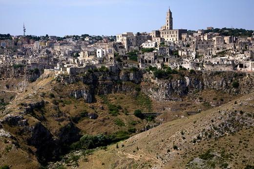 Stock Photo: 4261-86386 Sassi of Matera, la Civita and Sasso Barisano with the Cathedral, Matera, Basilicata, Italy