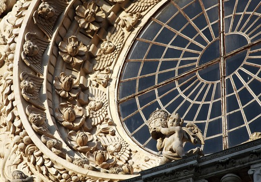 Detail, Chiesa di Santa Croce church, lecce, Apulia, Italy, Europe : Stock Photo