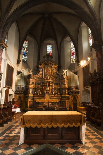 High Altar, Church, Collegiata di Sant'Orso, Aosta, Valle d'Aosta, Italy : Stock Photo