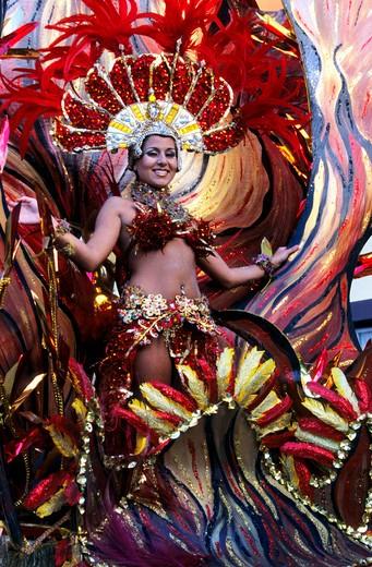 Carnival parade in Santa Cruz, Tenerife island, Canary Islands, Spain, Europe : Stock Photo