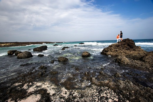 Malpais de la Corona volcanic beach, North-East coast, Lanzarote, Canary Island, Spain : Stock Photo