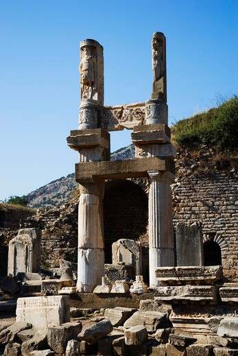 Ruins of the Temple of Domitian, Ephesus, Kusadasi, Turkey, Europe  : Stock Photo