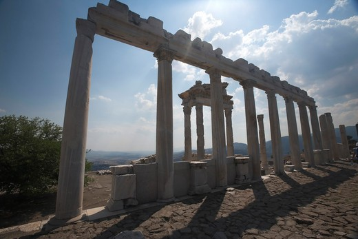 Stock Photo: 4261-87618 Corinthian capitals and columns of Temple of Trajan, Pergamon, Bergama, Turkey; Europe