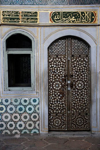 Mother of Pearl inlaid door of the Harem, Topkapi Palace, Istanbul, Turkey, Europe : Stock Photo