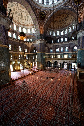 Stock Photo: 4261-87803 Interior of the New Mosque, Istanbul, Turkey, Europe