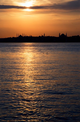 The skyline of the city from  Kadiköy district at sunset, Istanbul, Turkey, Europe : Stock Photo
