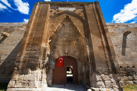 Stock Photo: 4261-87901 The entrance door of  the 13th century caravansaray of Agzikarahan,