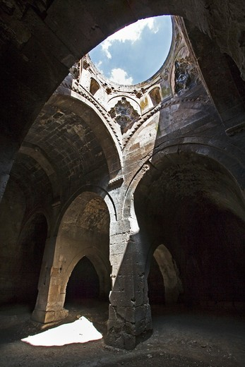 Stock Photo: 4261-87902 Interior of  the 13th century caravansaray of Agzikarahan, caravanserai provided a safe place for travellers to rest as well as a marketplace, cappadocia, Turkey, Europe