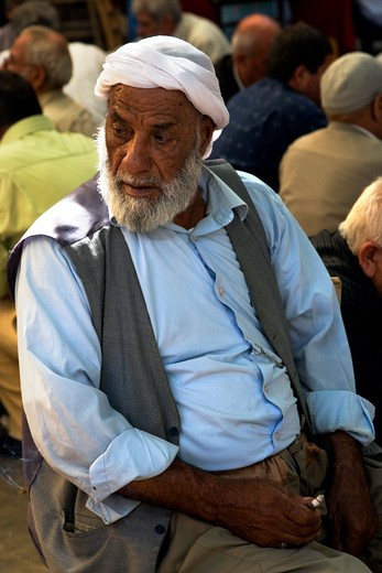 Man sitting  in the open court of a tea house, Urfa, Turkey, Europe : Stock Photo