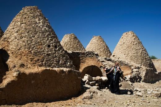 Mud brick beehive adobe houses, Harran, Turkey, Europe : Stock Photo
