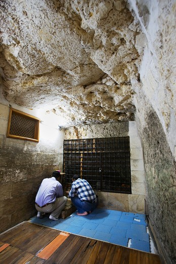 Turkish pilgrims doing their own ablutions at the Abrham's cave, Urfa, Turkey, Europe : Stock Photo