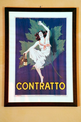 Contratto wine producer in Canelli, ancient advertising poster dated 1925, Asti, Piedmont, Italy, Europe : Stock Photo