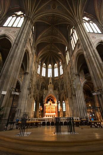 Stock Photo: 4261-88355 Interior of the Votive Church (Votivkirche), the church (1855-1879) designed by Henry von Ferstel  stands in Rathaus Park, Vienna, Austria, Europe