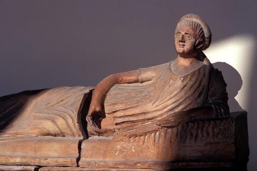 Sarcophagus, Etruscan museum, Tarquinia, Lazio, Italy : Stock Photo