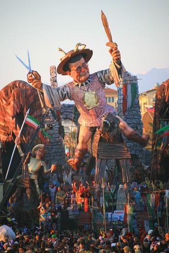 Romano Prodi mask, Carnival 2007, Viareggio, Tuscany, Italy : Stock Photo