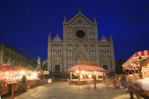 Xmas market, Santa Croce church, Florence, Tuscany, Italy : Stock Photo