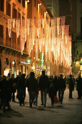 Xmas decorations, Calzaiuoli street, Florence, Tuscany, Italy : Stock Photo