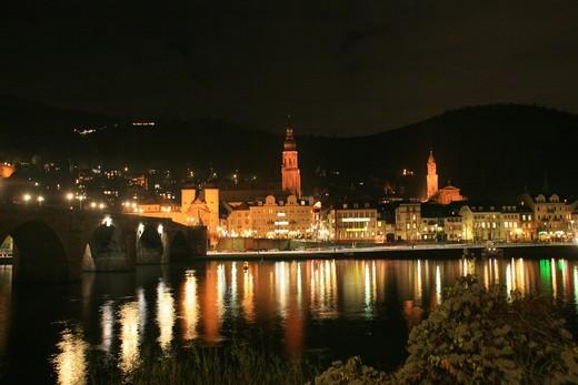 Foreshortening with Old Bridge, Heidelberg, Germany, Europe  : Stock Photo