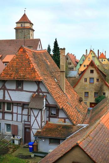 Foreshortening, Rothenburg ob der Tauber, Bavaria, Germany, Europe  : Stock Photo