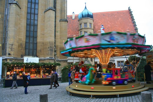 Merry-go-round, Rothenburg ob der Tauber, Bavaria, Germany, Europe  : Stock Photo