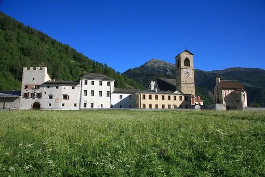 Stock Photo: 4261-91810 St Johann Mustair monastery, Mustair, Val Monastero, Bassa Engadina, Switzerland, Europe