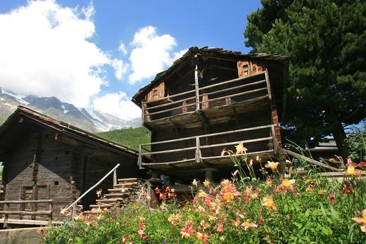 Foreshortening, Saas-Fee, Vallese, Switzerland, Europe : Stock Photo