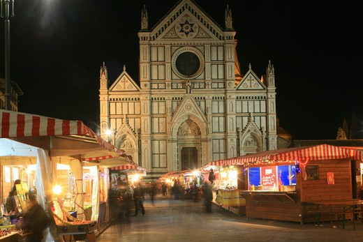 Xmas market in Santa Croce square, Florence, Tuscany, Italy : Stock Photo