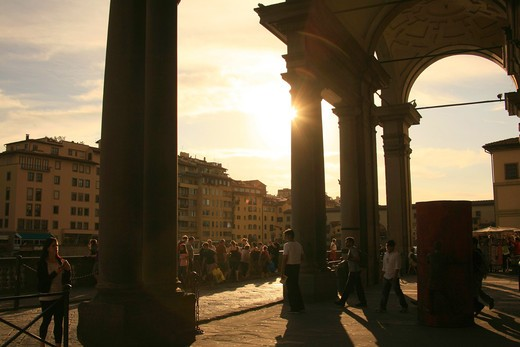 Stock Photo: 4261-91909 Sunset, Loggia, Uffizi palace, Florence, Tuscany, Italy