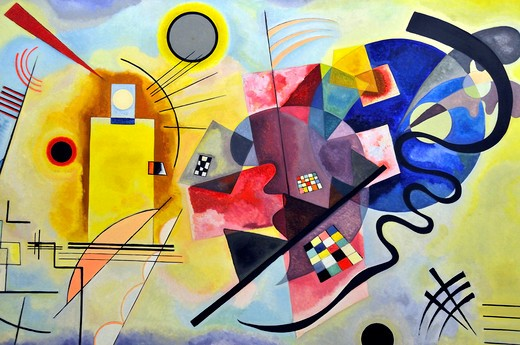 Project for Yellow, Red, Blue, Vassily Kandinsky, Musée National d'Art Moderne, Centre Georges Pompidou, Beaubourg, Paris, Île-de-France, France, Europe : Stock Photo