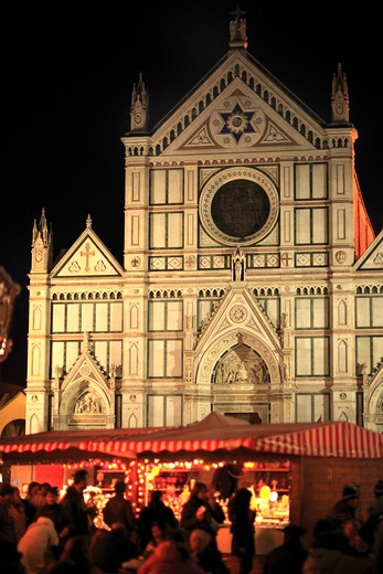 Christmas market in Santa Croce square, Florence,Tuscany, Italy, Europe : Stock Photo