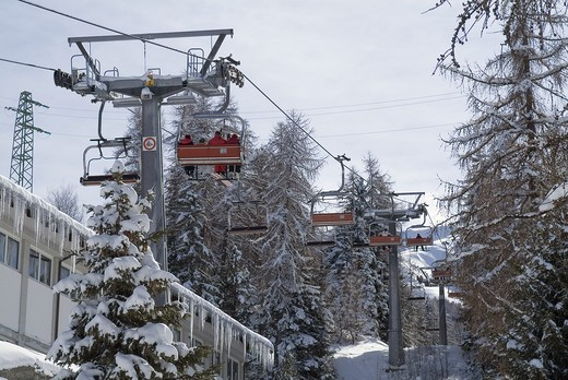La Nouva chair lift, Gressan, Pila, Valle d'Aosta, Italy : Stock Photo