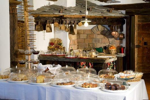 Breakfast room, Hotel Milleluci, Aosta, Valle d'Aosta, Italy : Stock Photo