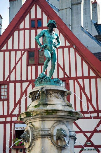 Statue in Place Francois Rude, Dijon, Burgundy, France, Europe : Stock Photo