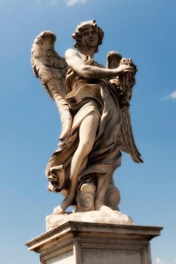 Stock Photo: 4261-94285 Angel figure detail, Sant' Angelo bridge,  Rome, Lazio, Italy, Europe