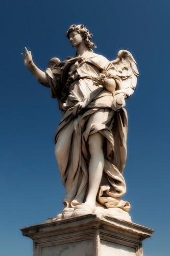 Angel figure detail, Sant' Angelo bridge,  Rome, Lazio, Italy, Europe : Stock Photo