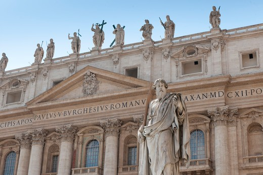 Stock Photo: 4261-94294 San Paolo statue, San Pietro basilica, Vaticano, Rome, Lazio, Italy, Europe