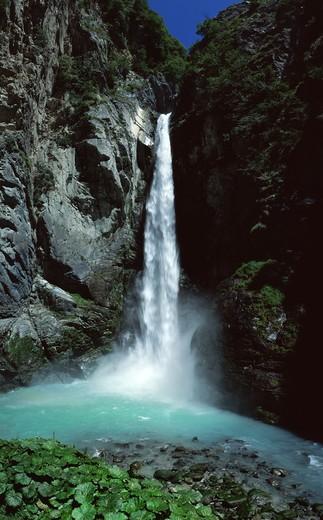 Isollaz waterfall, challand saint anselme, Val d'Ayas, Aosta Valley, Italy, Europe : Stock Photo