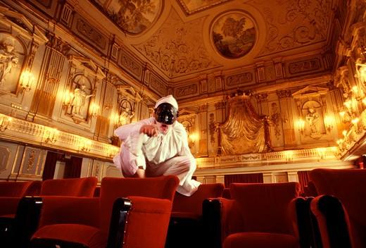 Pulcinella, Teatrino di Corte inside the Royal Palace, Naples, Campania, Italy : Stock Photo