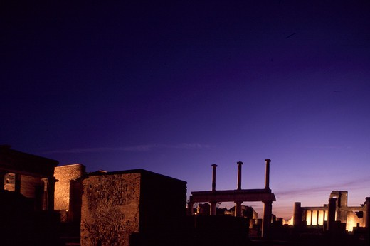 Night over the ruins, Pompei, Campania, Italy : Stock Photo