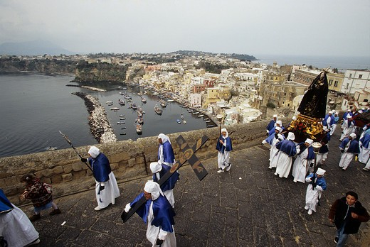 The procession of the Good Friday preceeding the Easter, Island of Procida, Campania, Italy : Stock Photo